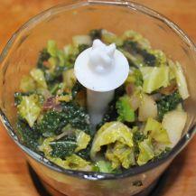 Penne rigate patè di verza e dadolata di melanzane e pera (4)