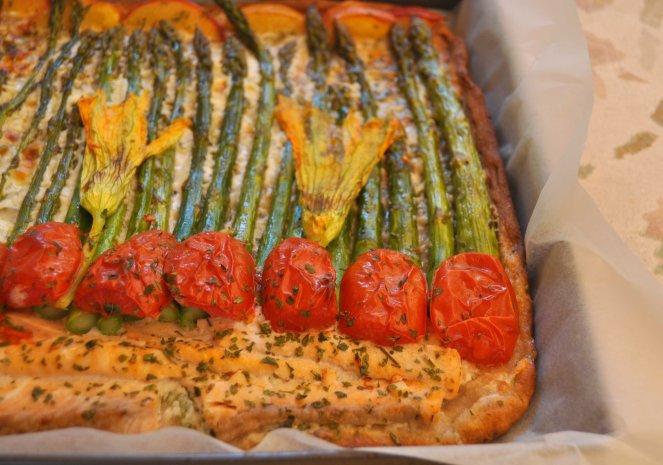 pizza rustica con asparagi fiori di zucca e salmone (16)