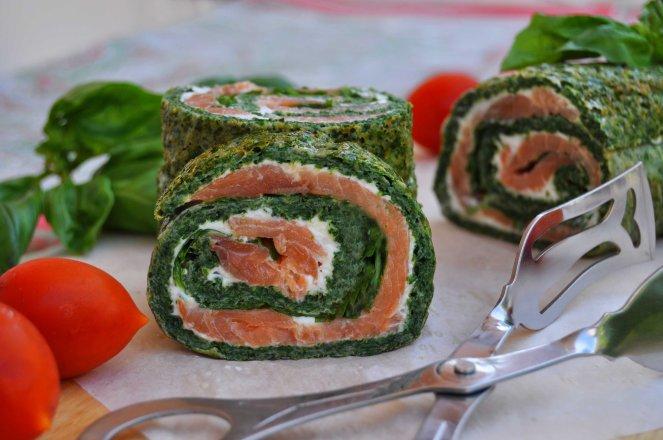 rotolo spinaci basilico e salmone affumicato (14)