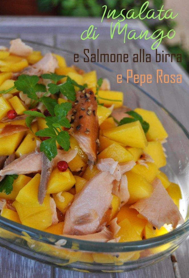 Insalata di mango e salmone alla birra e pepe rosa